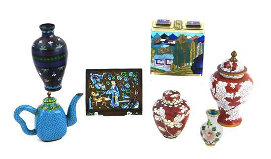 ASIAN: Seven pieces of cloisonné and enamel, Chinese 19th or 20th C., pieces include: snuff or opium box; two covered jars; two vase...