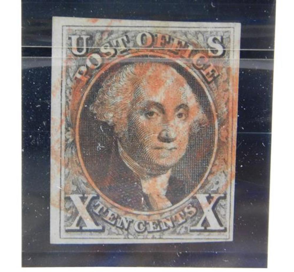 STAMPS: 1847, 10 cent Washington, Scott #2, black, Variety; Stitch Waterwork, VF, used, four margins with red grid cancel, with Phil...