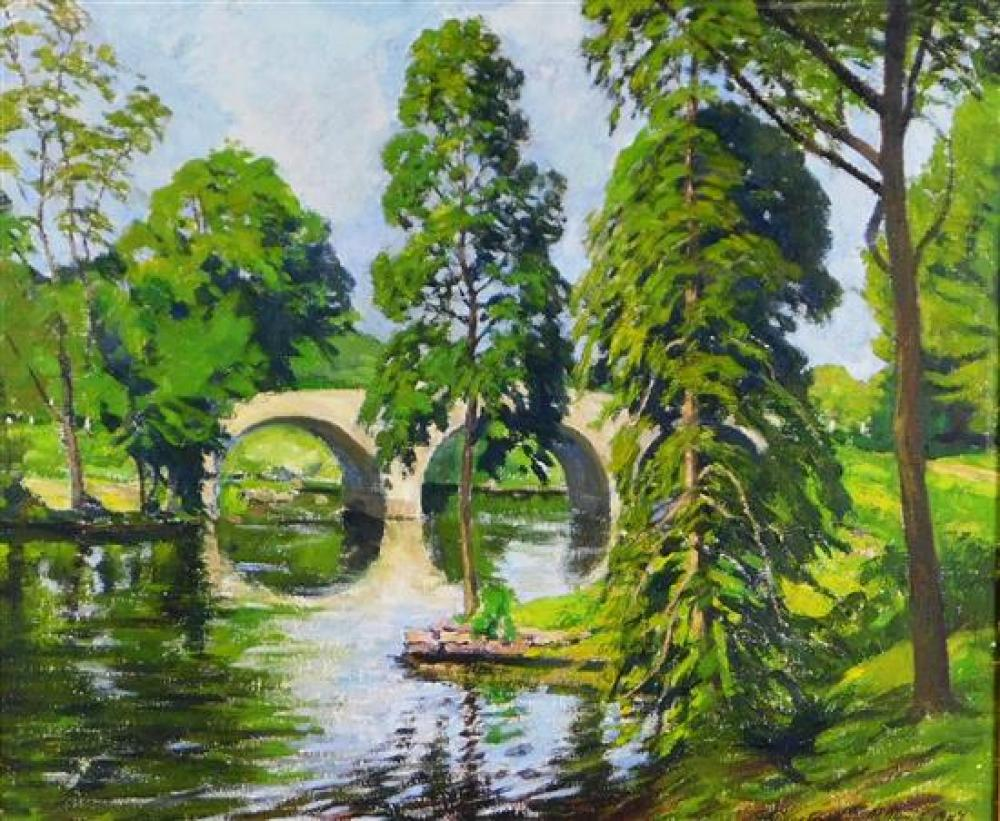 "James Goodwin McManus (American, 1882 - 958), ""Summer Landscape"", 1947, oil on canvas, depicts park scene with triple arch bridge at..."