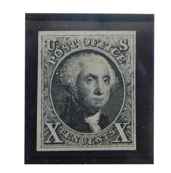 STAMPS: 1875, 10 cent G. Washington, Scott #4, Black Official Reproduction of first U.S. (Produced For Exhibit at the Centennial Exp...