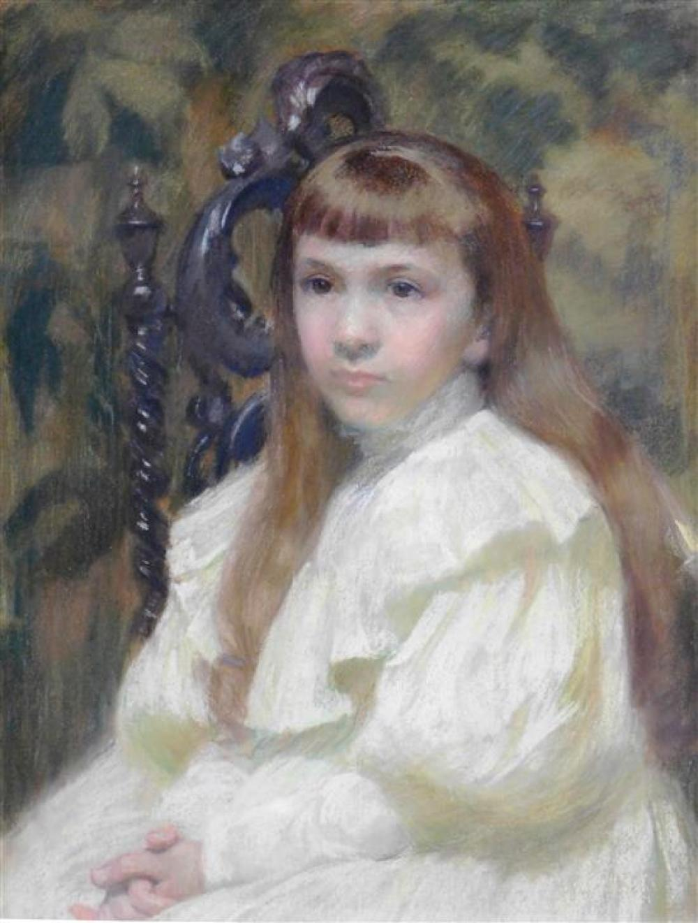 """Elizabeth Haynes Thomas (American, 19th/20th century), pastel on paper, depicts portrait of """"Dorothy Raymond Thomas"""", young girl wea..."""