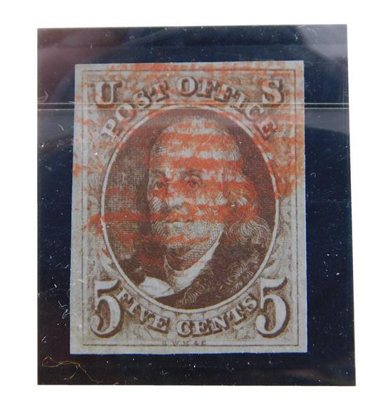 STAMPS: 1847 5 cent B. Franklin, Scott #1 Brown, Very fine used with red/grill cancel, includes Philatelic foundation Certificate No...