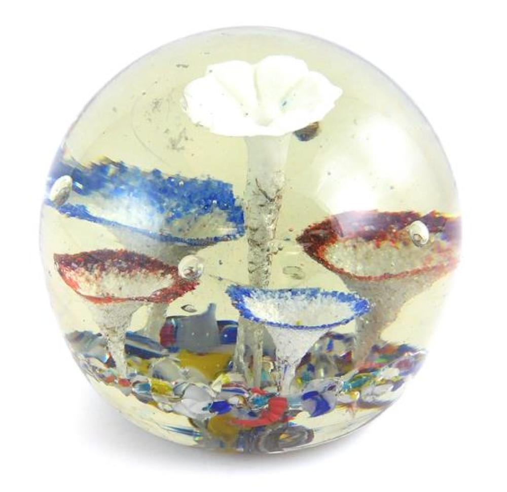 GLASS: Earlier paperweights, Italian, mostly 19th C., nine pieces, largest with trumpet flowers; three smaller with millefiori; thre...