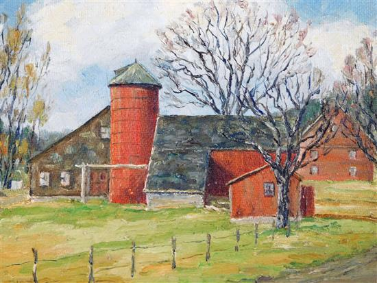 "Bissell Phelps Smith (American, 1892 - 1962), ""The Red Silo"", oil on masonite, depicts cluster of painted red barns, sheds and cape,..."