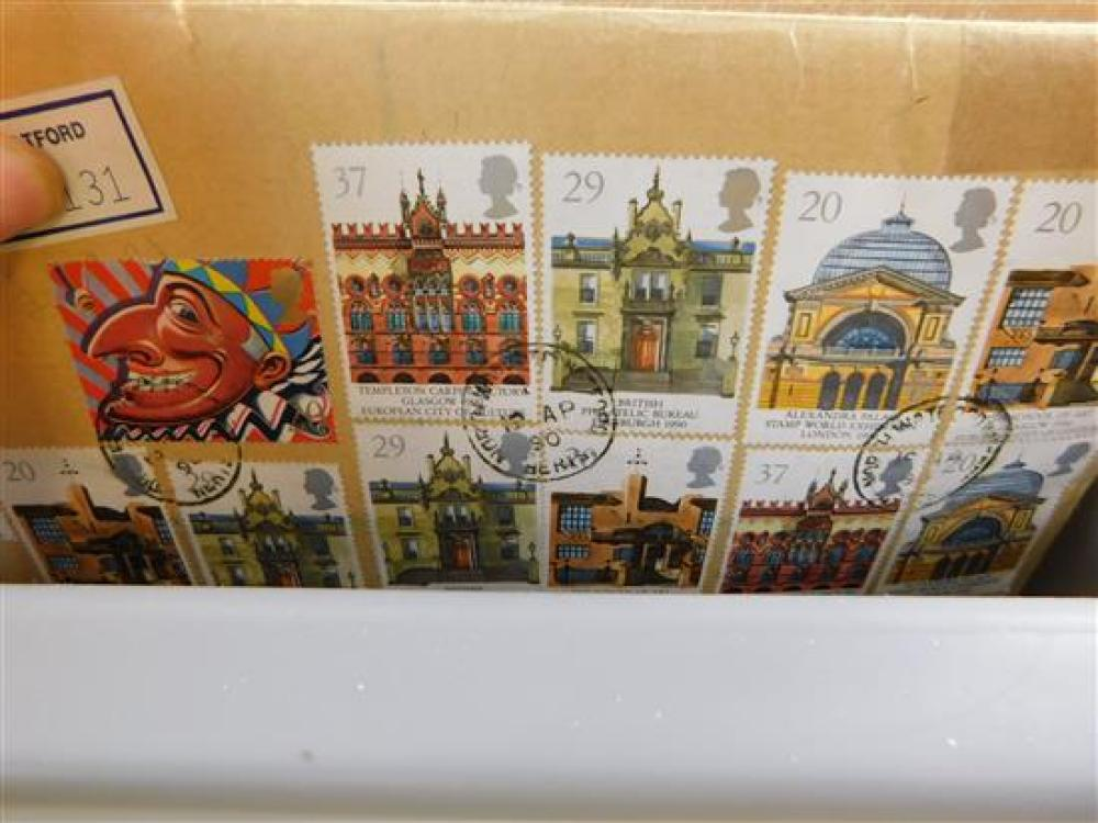 STAMPS: Four trays of British Nations Stamps (Europe, America, Africa, and Asia) in their original mailers from Great Britain