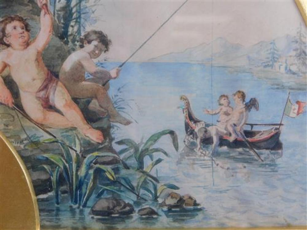 Edouardo Vitali (Italian, 19th century), watercolor on silk twill, 1880, depicts cupids on an island, shooting arrows, fishing, play...