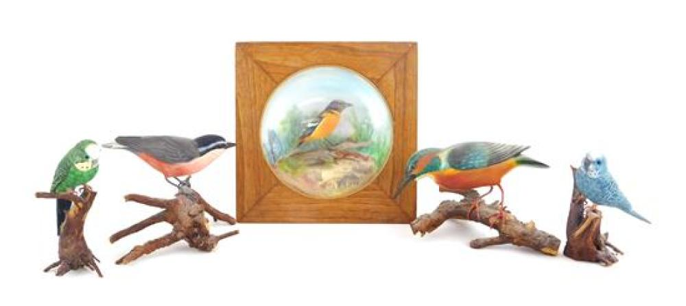 Five bird carvings, including one framed behind glass, details include: one diorama with Baltimore Oriole on branch, signed A