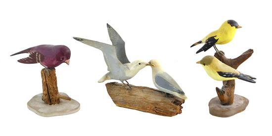 "Three bird carvings, all signed ""V. W. Smith"" to base, including: pair of seagulls on driftwood base, 4 1/2"" h.; pair of gold finche..."