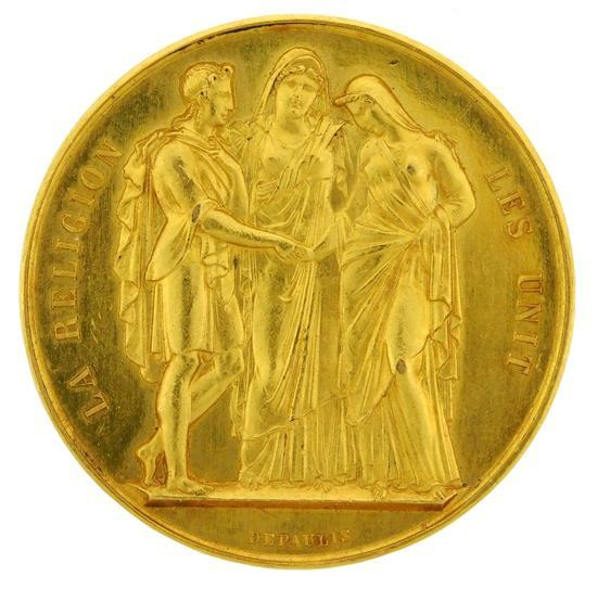 †COIN: French gold wedding coin, engraved to honor the wedding between Georges Dardanne & Celine Rillardon on November 2nd, 1884, med..