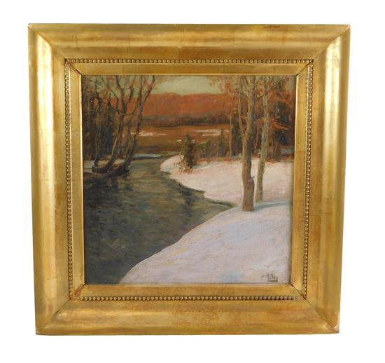 Possibly Paul Petri (19th/ 20th C.), oil on board, snow scene with river, signed LR, framed, not examined out of frame, wear consist...