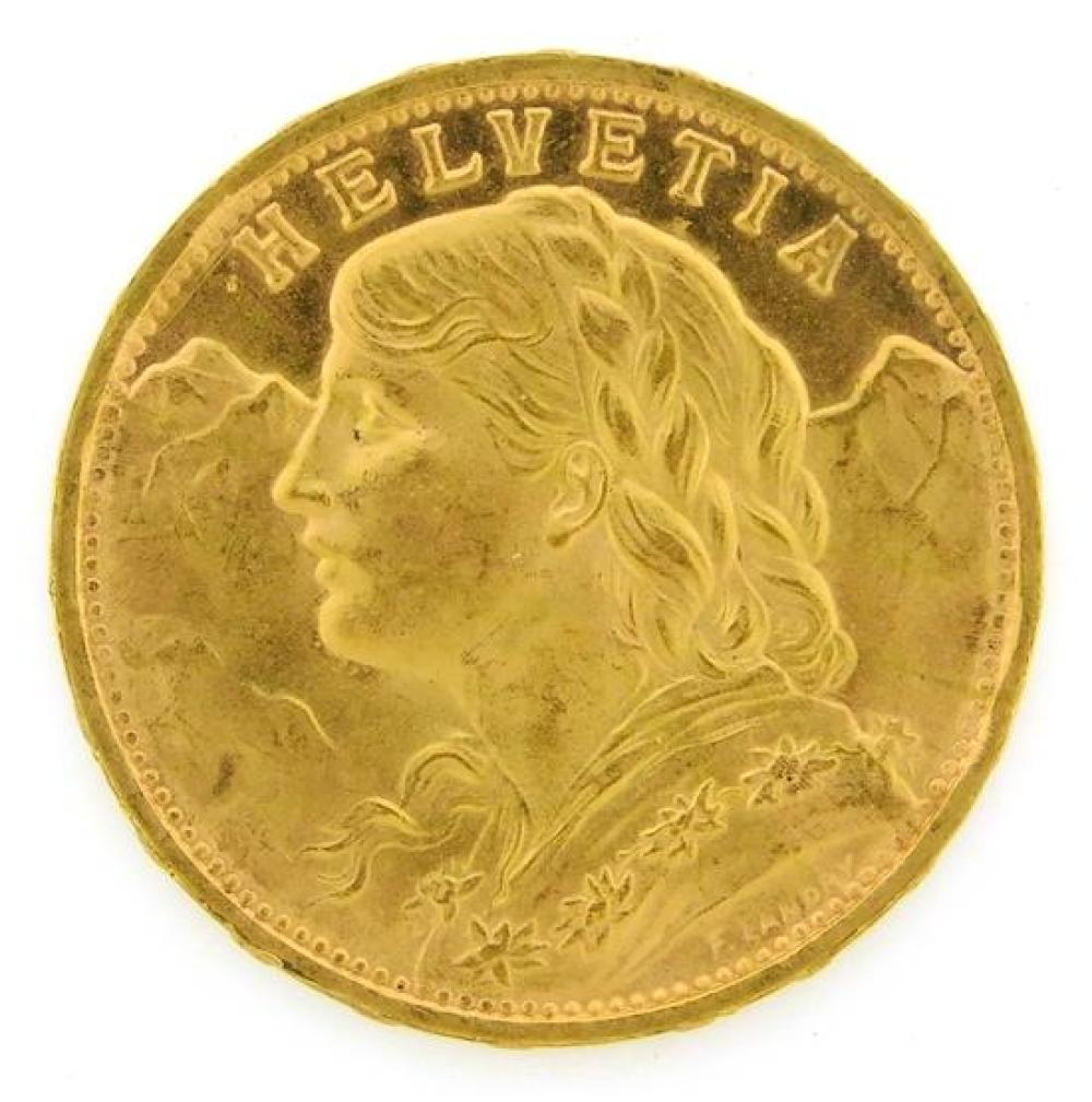 †COIN: 1935-B Swiss 20 Franc gold coin, choice Uncirculated.