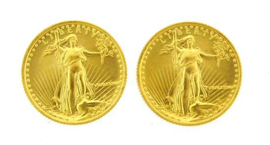 †COINS: Lot of Two 1987 $5 US Fractional gold eagle, 1/10 oz. each, uncirculated.