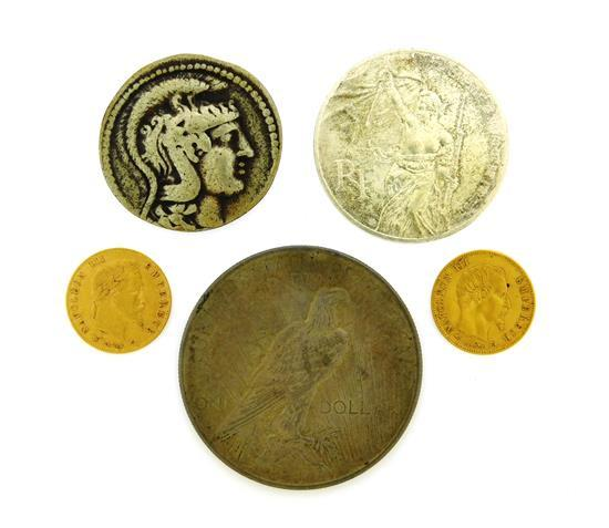 †COINS: Lot of five coins includes: two French 5 Franc gold coins: an 1859-A and an 1864-A, in Extremely Fine condition; also, a 1923..