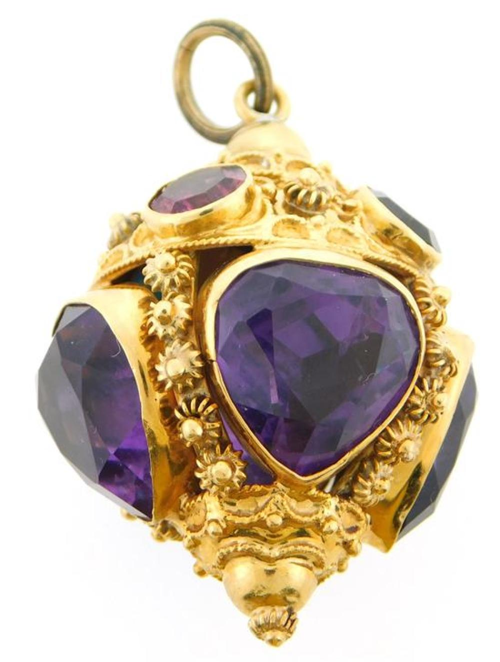 JEWELRY: 18K Amethyst Fob/Pendant, tested 18K yellow gold orb shaped fob pendant, 1 9/16 inches tall, 1 1/8 inches in diameter at it...
