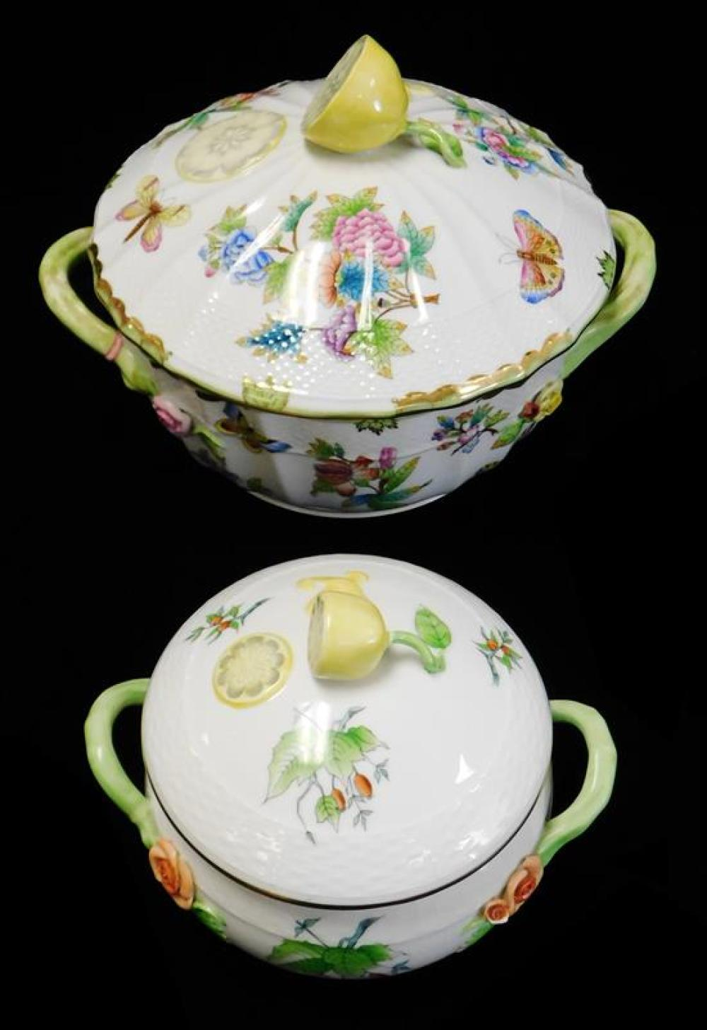 "CHINA: Two Herend tureens with lemon finials including ""Queen Victoria"" pattern, both hand-painted with floral design on white groun..."