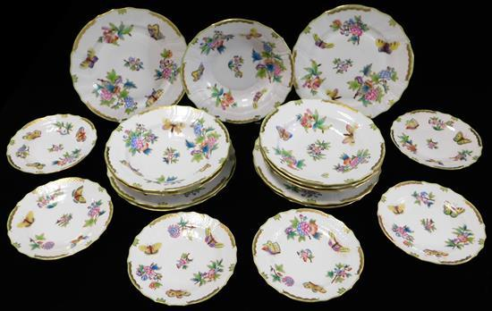 "CHINA: Herend ""Queen Victoria"" pattern dinnerware, eighteen pieces, polychrome floral and butterfly design on white ground, all sign..."