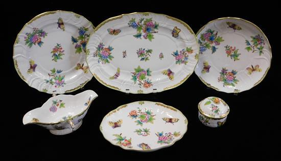 """CHINA: Herend """"Queen Victoria"""" pattern serving dishes, six pieces, all signed on base, including: gravy boat and liner, 10 1/4"""" l"""
