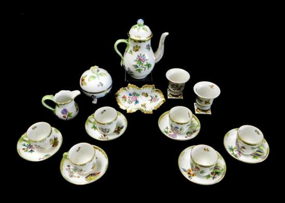 "CHINA: Herend ""Queen Victoria"" pattern tea set and accessories, seventeen pieces along with one similar, polychrome floral and butte..."