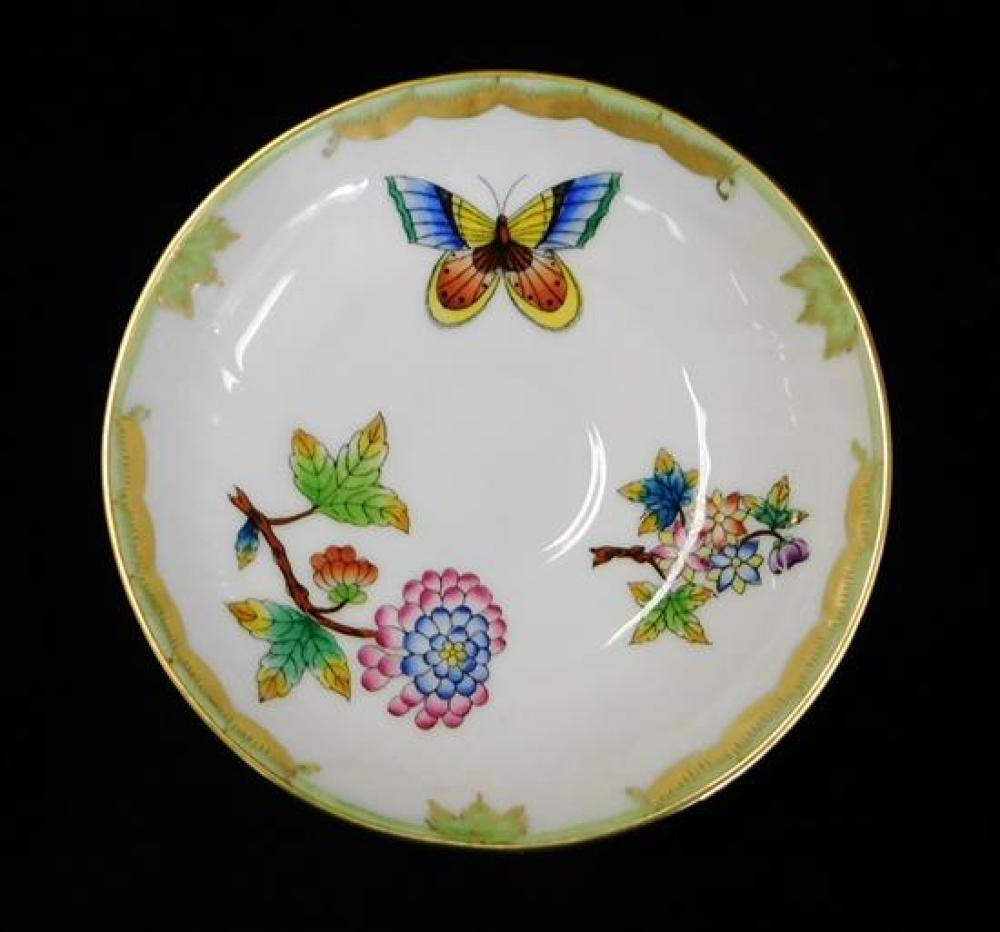 """CHINA: Herend """"Queen Victoria"""" pattern tea set and accessories, seventeen pieces along with one similar, polychrome floral and butte..."""