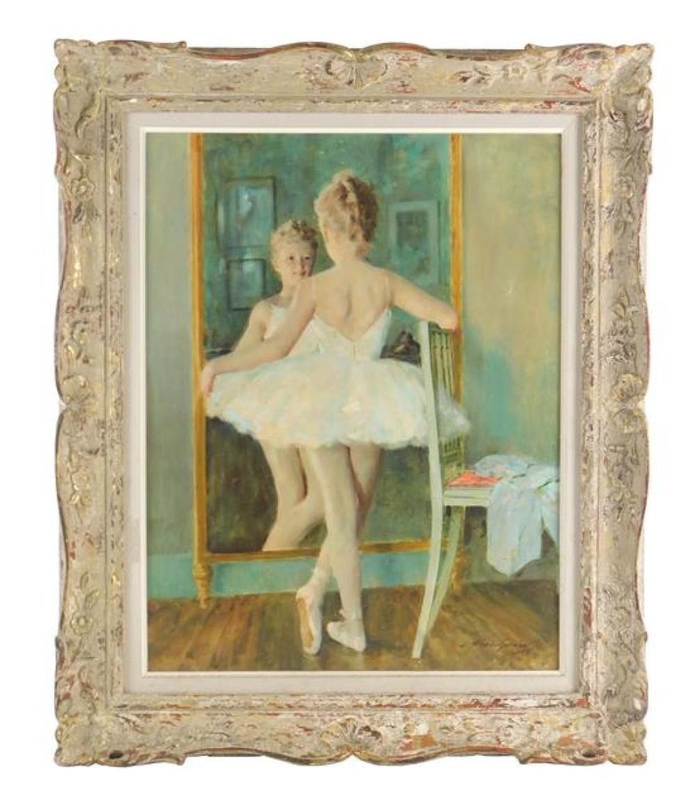 Lucien Henri Grandgerard (French, 1880 - 1970), oil on panel, 1958, depicts ballerina by mirror, signed and dated LR, framed, not ex...