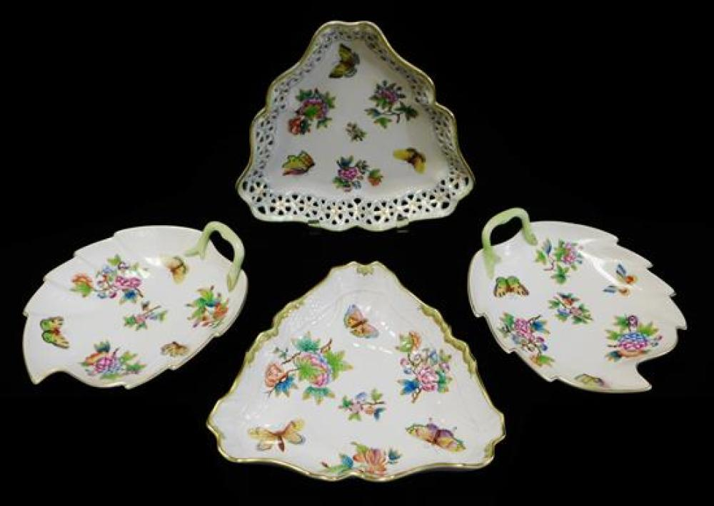 "CHINA: Herend floral and butterfly serving dishes, four pieces including one ""Queen Victoria"" pattern, all signed on base, including..."