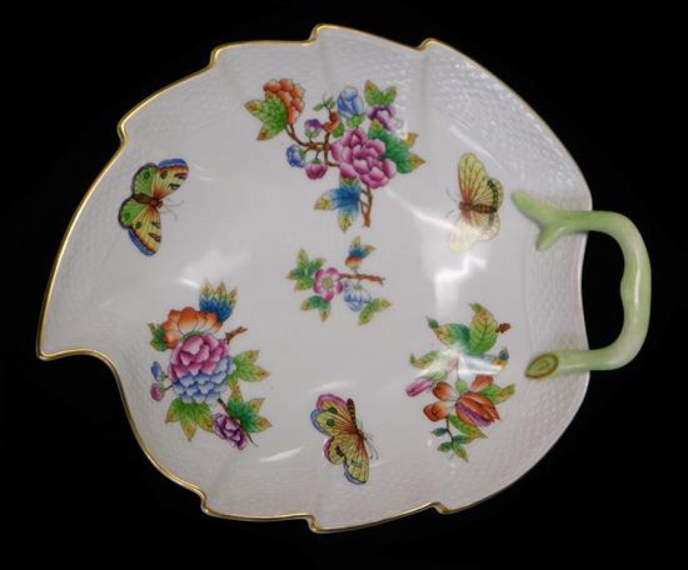CHINA: Herend floral and butterfly serving dishes, four pieces including one