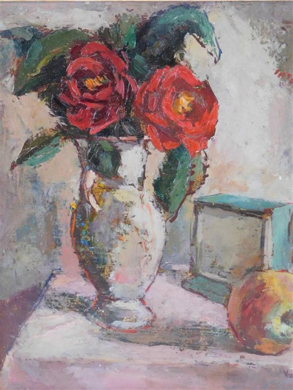 Oscar Van Young (American, 1906 - 1991), oil on board, depicts still life with roses in vase beside apple and blue box, signed LR, f...