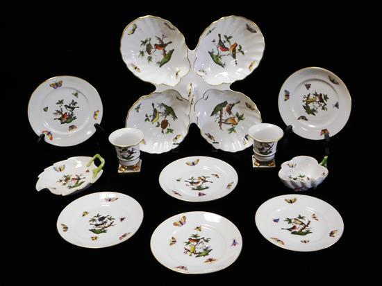 """CHINA: Herend """"Rothschild"""" pattern porcelain, eleven serving and dinnerware pieces, polychrome bird, floral and insect design on whi..."""