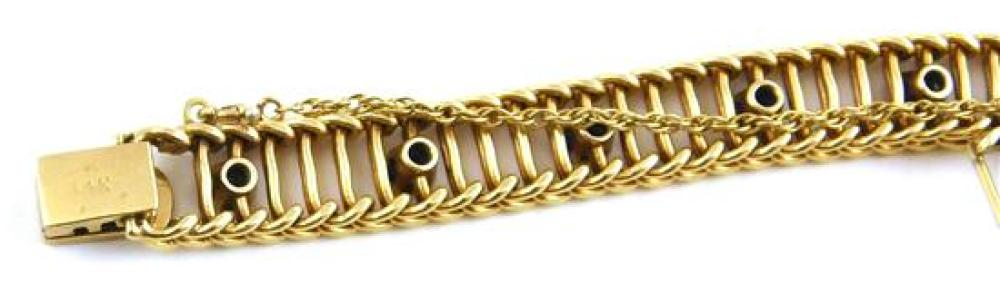 "JEWELRY: 14K Gold Sapphire Bracelet, stamped and tested 14K yellow gold, ladder design bracelet, width: 8.3 mm, length: 7 1/4"", set..."