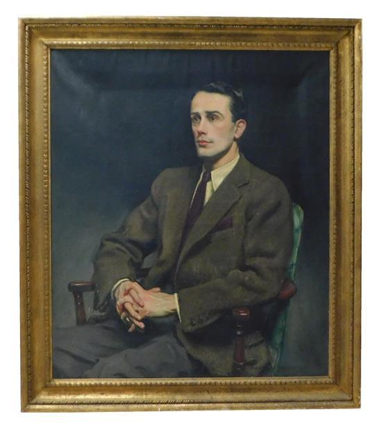 """Sidney Dickinson (American, 1890 - 1980), oil on canvas, """"Portrait of Miss Wright's Son (Hamilton Wright as a Young Man)"""" depicts se.."""