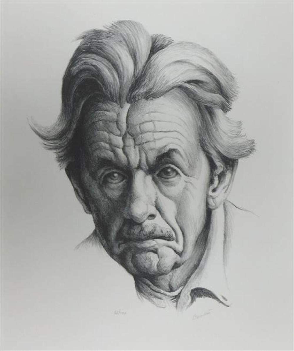 "Thomas Hart Benton (American 1889-1975) ""Self-portrait"", lithograph, 1973, ed. 51/100, Fath 90, signed in pencil ""Benton"" lower righ..."