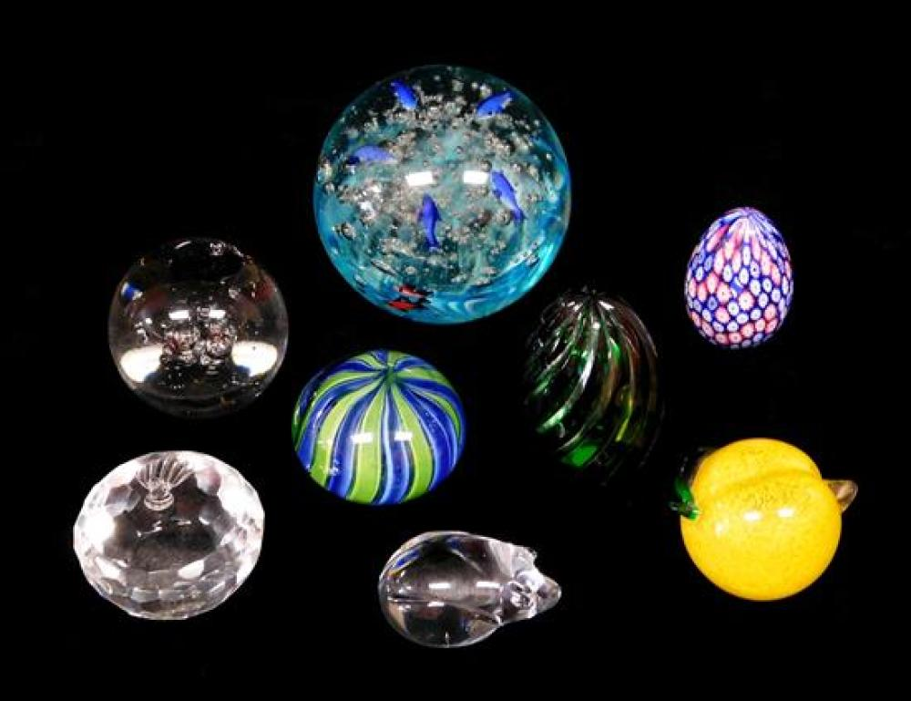 GLASS: Contemporary art glass, eight pieces: lemon; large ball with orange and blue fish; green cut crystal egg; Steuben type hand-c...