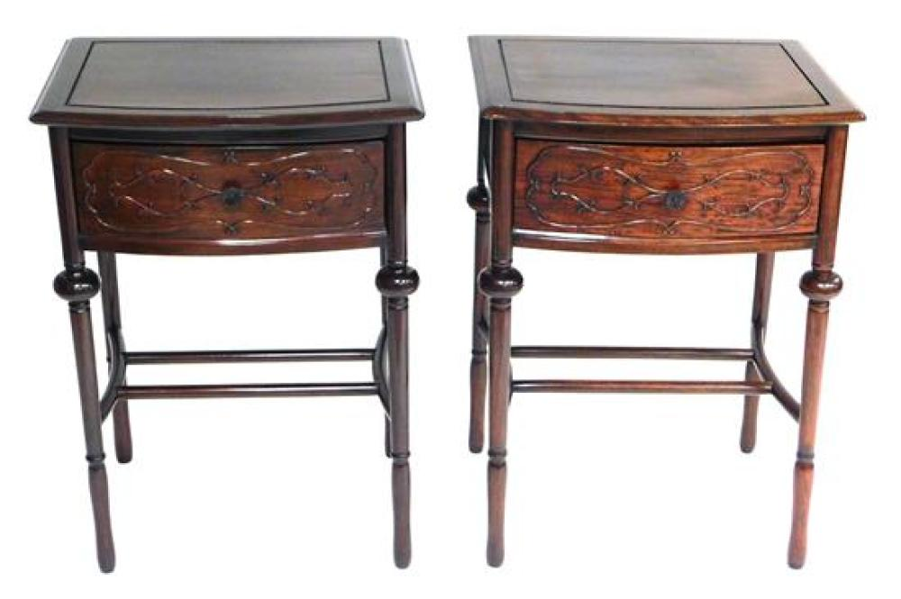 Pair of Oriental style single drawer stands, mahogany finish, shaped top with etched border, bowfront single drawer with applied scr...