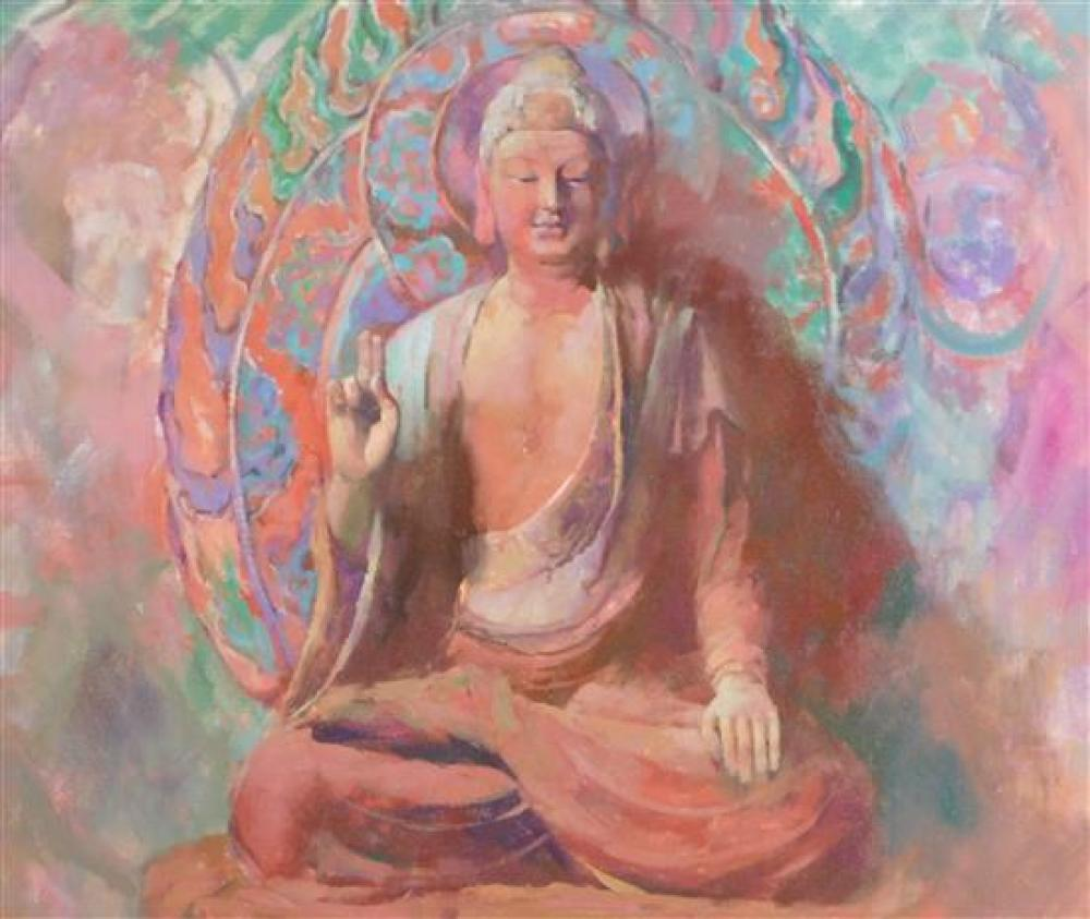 "Hongnian Zhang (Chinese, b. 1947), ""Buddha"", oil on canvas, Buddha, depicts portrait of the deity in tones of blue, green and pinks,..."