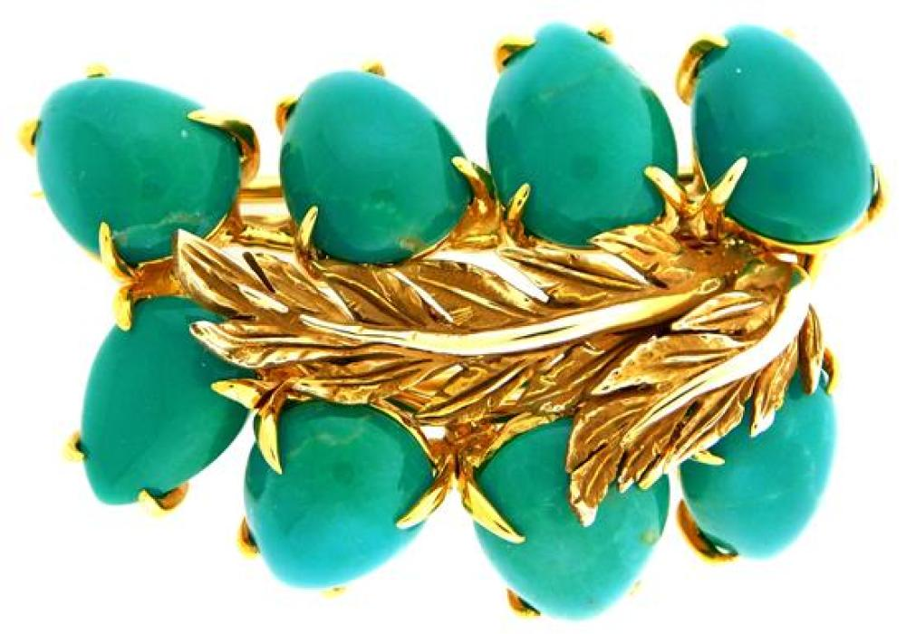 JEWELRY: 18K Turquoise Brooch, leaf motif brooch: tested 18K yellow gold with double pin stem on back, 1 ½ inches x 1 inch, set with...
