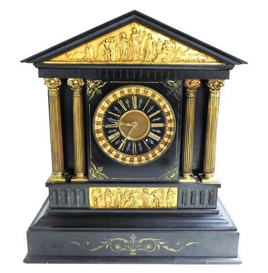 "Impressive Tiffany & Co. French black slate mantel clock, c. 1888, classically styled after the Parthenon, signed ""TIFFANY & CO., NE..."