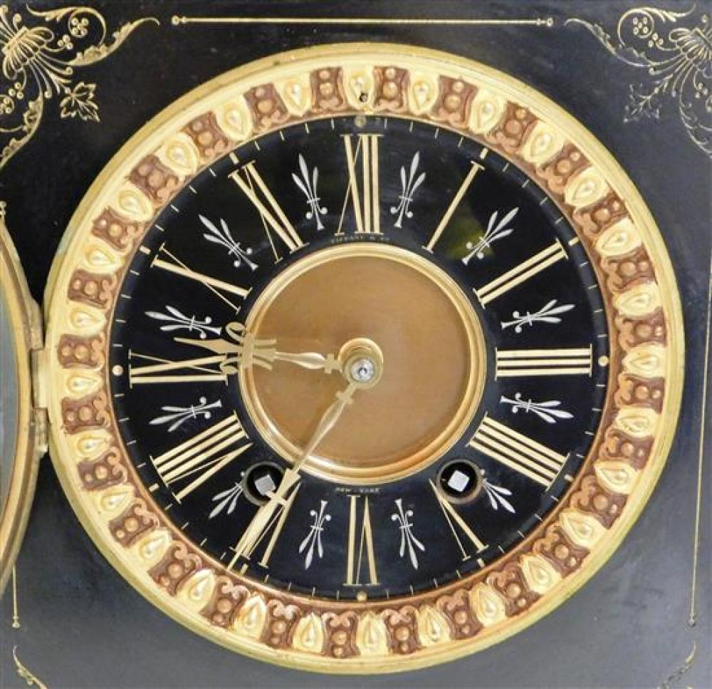 Impressive Tiffany & Co. French black slate mantel clock, c. 1888, classically styled after the Parthenon, signed