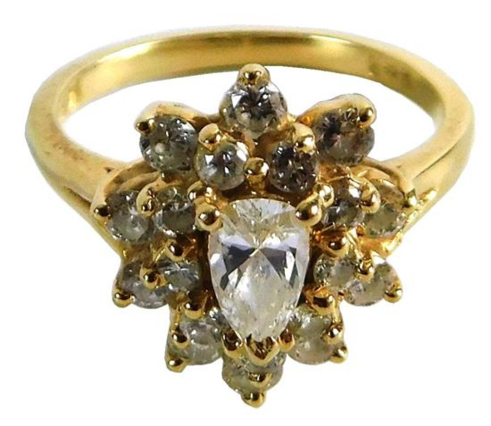 JEWELRY: 14K Diamond Cluster Ring, mounting: stamped and tested 14K yellow gold, pear shape cluster basket setting, finger size: 6 ¼...