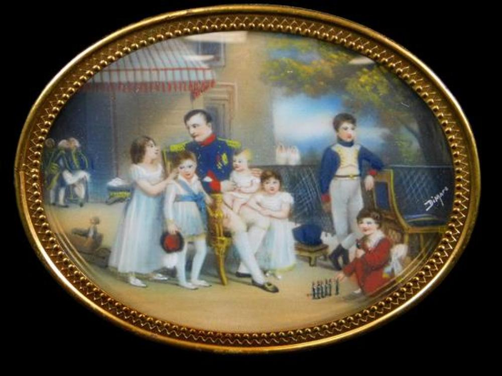 """Miniature vignette of Napoleon surrounded by his young family, signed """"DiMare"""" LR, oval form inset in velvet and mahogany veneer fra..."""