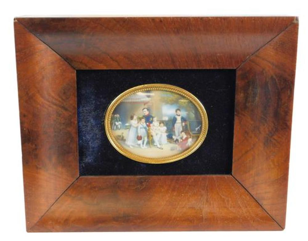 Miniature vignette of Napoleon surrounded by his young family, signed