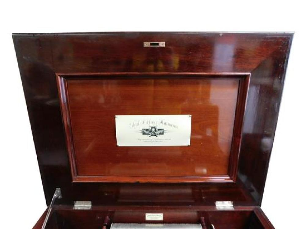 Ideal Sublime Harmonie table top music box with ten cylinders, c. 1900, serial #128288, long bed plate, single comb, horizontal fly...