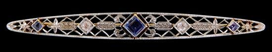 JEWELRY: 14K filigree sapphire and diamond bar pin, stamped and tested 14K yellow gold with platinum top bar pin, length: 2 ½ inches...