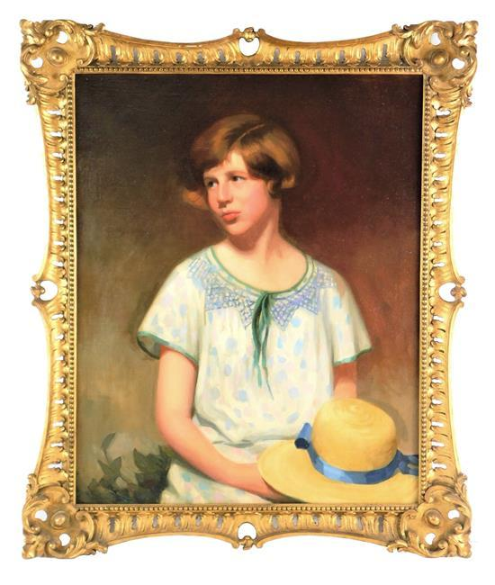 """Oil on canvas, 20th C., depicts portrait of young girl with straw bonnet, framed, light wear and loss, ss: 30"""" h. x 24"""" w."""