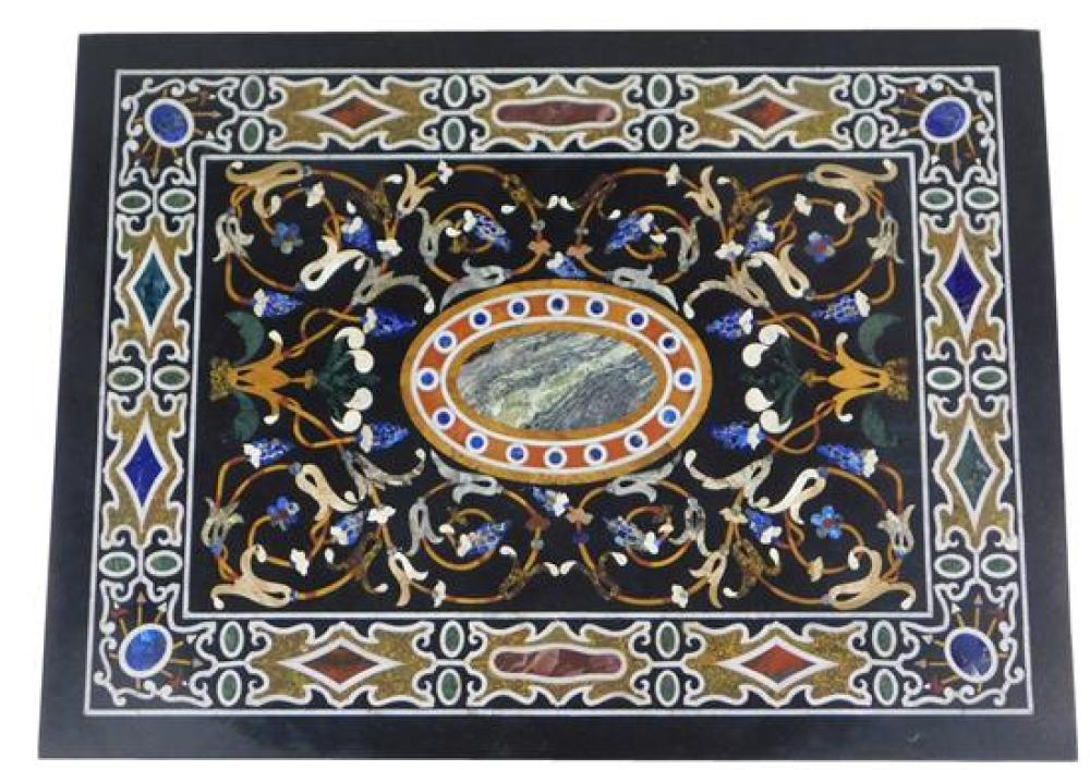 Large Pietra dura slab or table-top, Italian, 19th/ early 20th C., rectangular form with blue oval stone at center surrounded by scr...