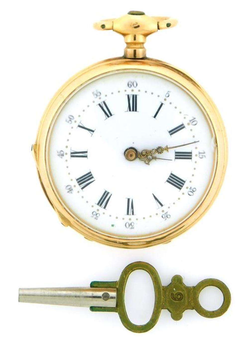 """JEWELRY: 18K Pendant Watch with Enamel, open face pendant watch with dustcover: tested 18K yellow gold, dust cover is engraved: """"Cyl..."""