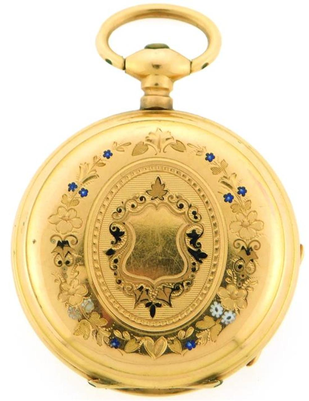 JEWELRY: 18K Pendant Watch with Enamel, open face pendant watch with dustcover: tested 18K yellow gold, dust cover is engraved:
