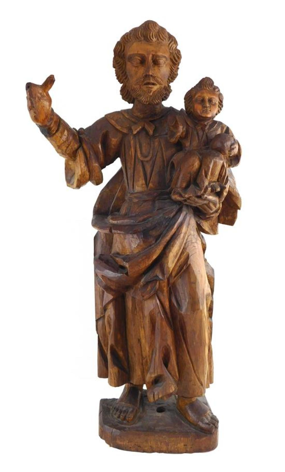 Wooden carved saint sculpture, Continental, 19th C