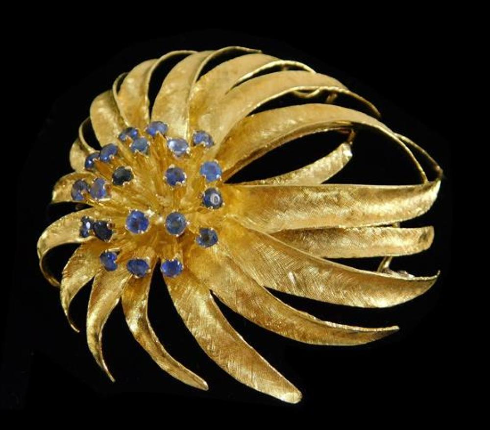 """JEWELRY: 18K Sapphire Spray Pin, spray pin: stamped and tested """"18K"""" yellow gold with white gold pin stem, 1 7/8 inches by 1 ½ inche..."""
