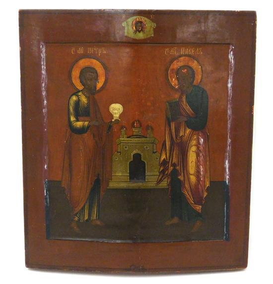 "Russian icon on panel, ""Saints Peter and Paul"", 20th C. or earlier, wear consistent with age and use including some loss/ damage, re..."
