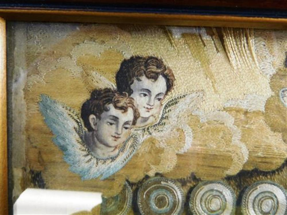 Needlepoint picture recording the birth of a child, 19th C., silk thread on unknown support, hand-painted details, depicts recoverin...